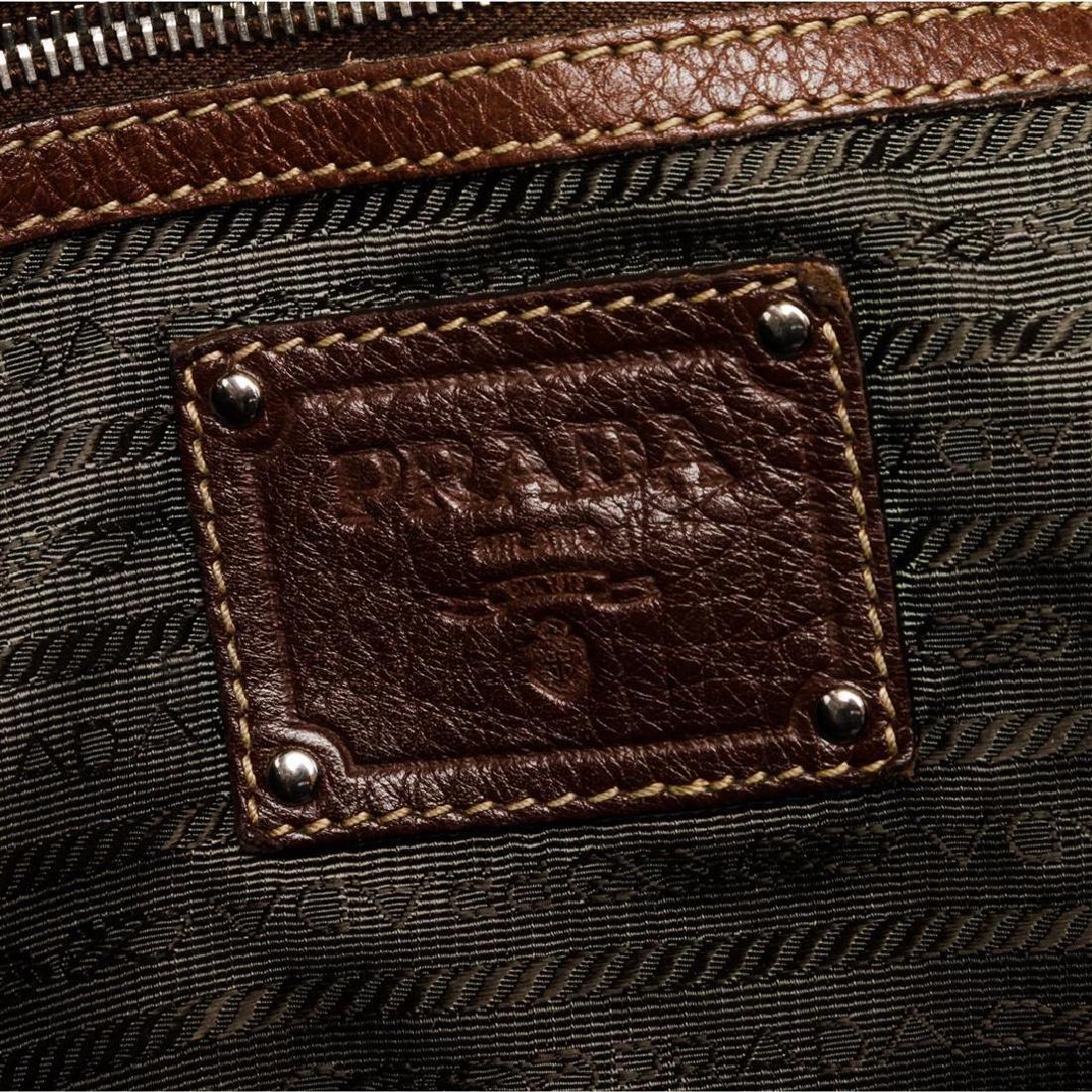 Prada Brown Pebbled Leather Tote Satchel Bag - 8