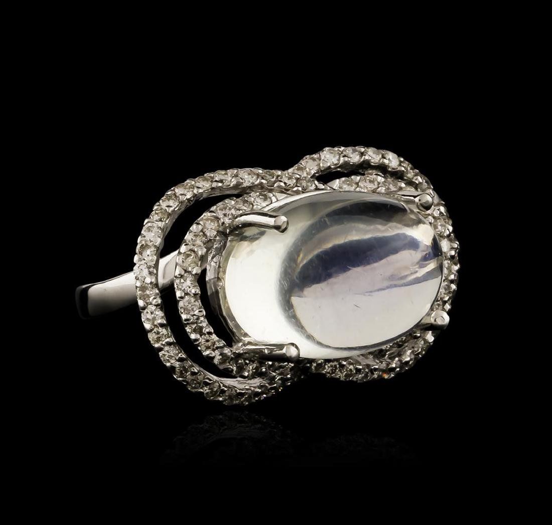 14KT White Gold 0.84 ctw Blue Moonstone and Diamond