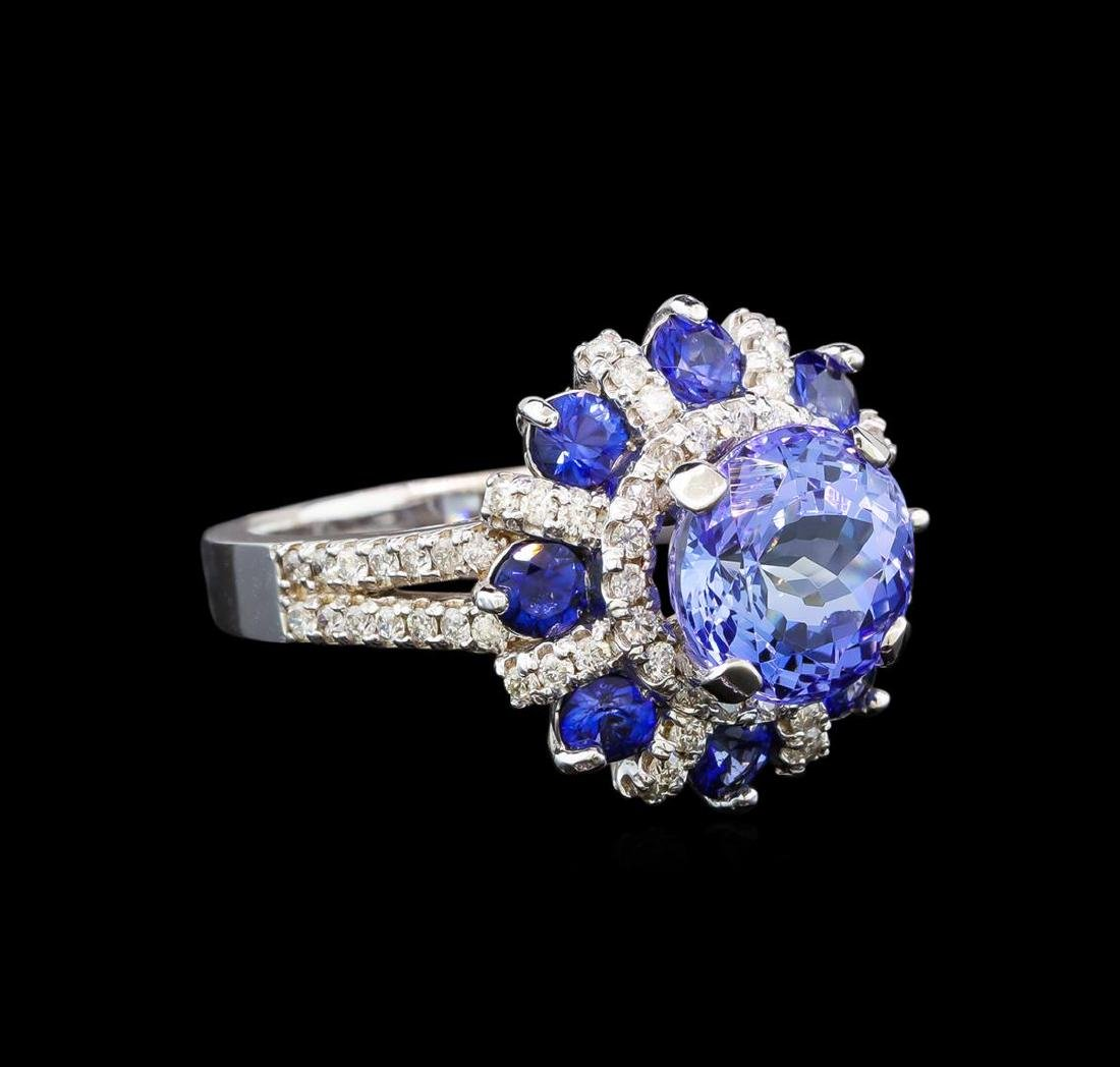 14KT White Gold 2.49 ctw Tanzanite, Sapphire and