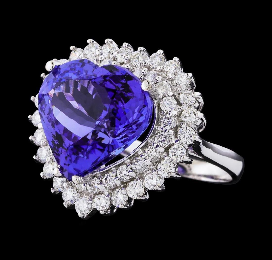 GIA Cert 12.12 ctw Tanzanite and Diamond Ring - 14KT
