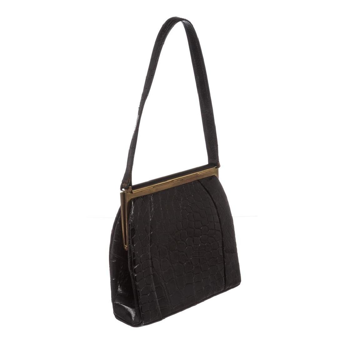 Fassbender Black Croc Vintage Leather Handbag - 2