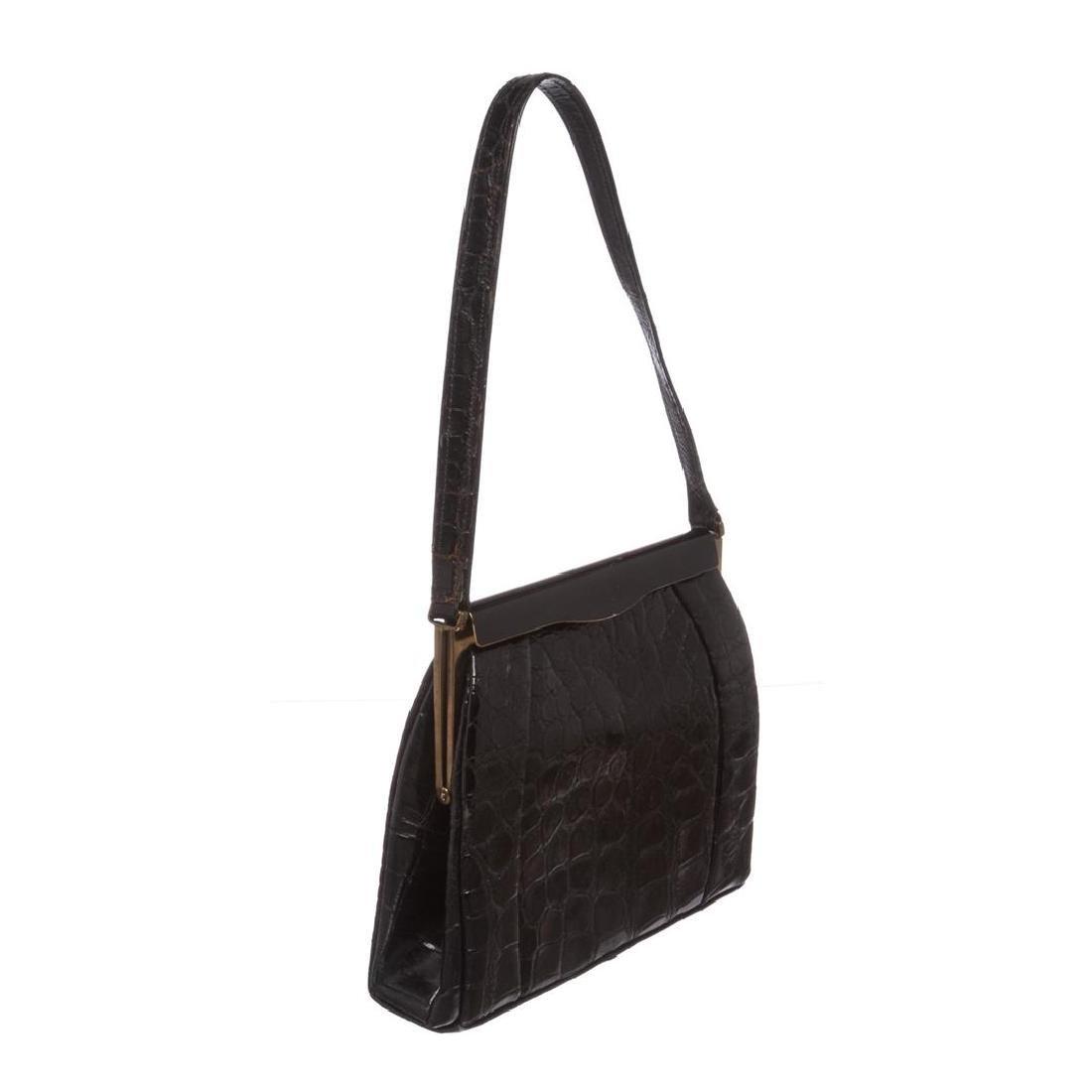 Fassbender Black Croc Vintage Leather Handbag - 3