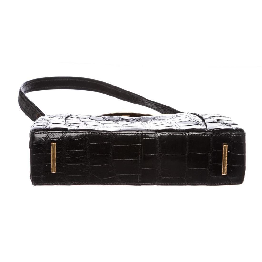 Fassbender Black Croc Vintage Leather Handbag - 4