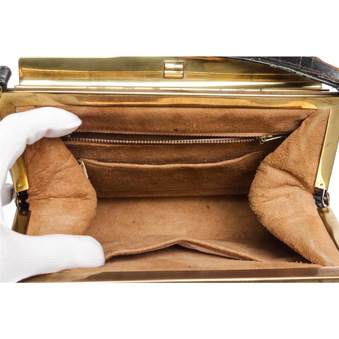 Fassbender Black Croc Vintage Leather Handbag - 5