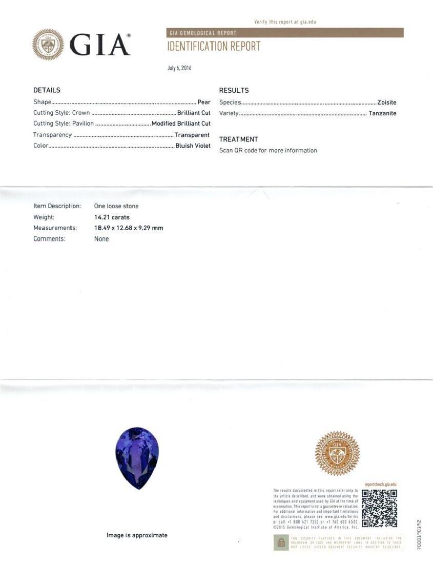 14.71 ctw Tanzanite and Diamond Ring - 14KT White Gold - 7