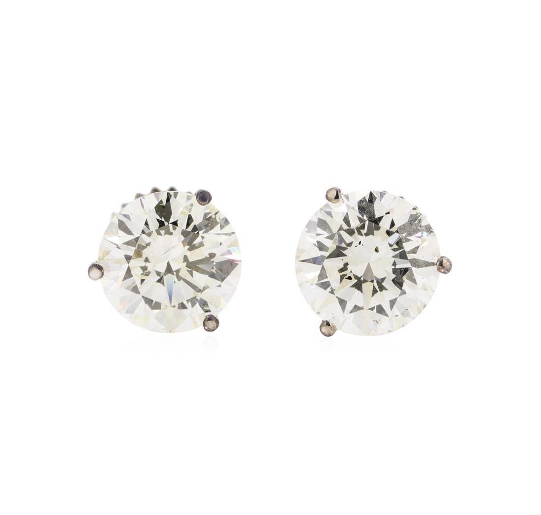 4.14 ctw Diamond Earrings - 14KT White Gold