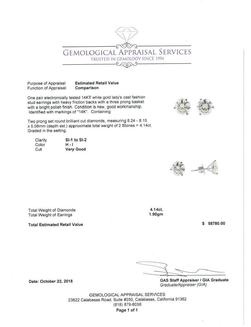 4.14 ctw Diamond Earrings - 14KT White Gold - 3