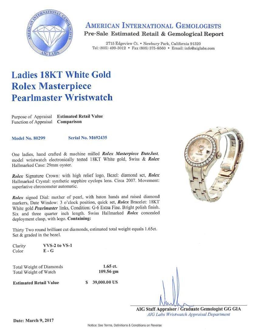 Ladies Rolex Masterpiece 18KT White Gold Datejust Watch - 5