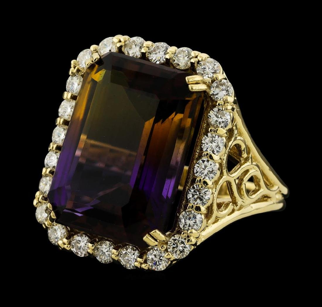 14.64 ctw Ametrine Quartz and Diamond Ring - 14KT