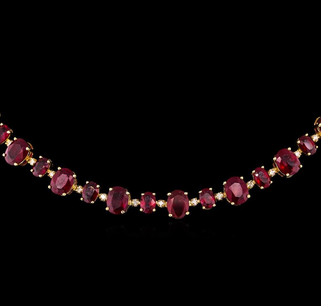 14KT Yellow Gold 44.89 ctw Ruby and Diamond Necklace - 2