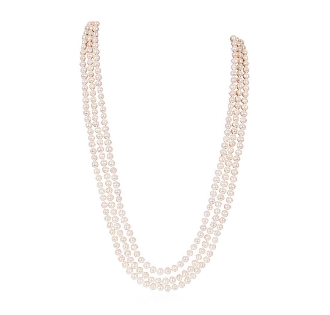 2.90 ctw Pearl and Diamond Necklace - Platinum