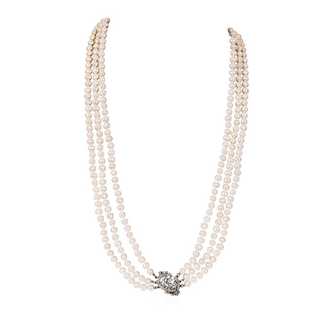 2.90 ctw Pearl and Diamond Necklace - Platinum - 2