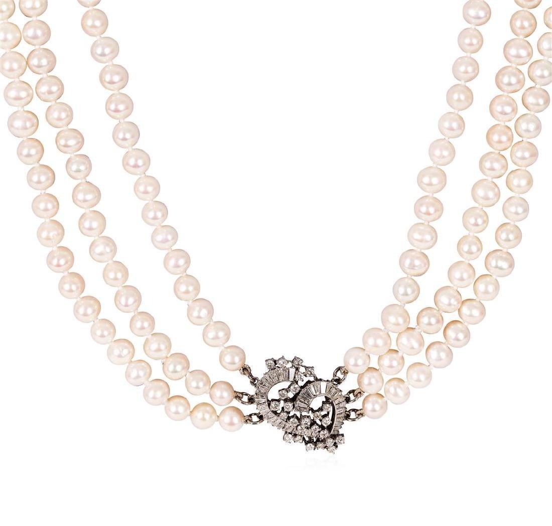 2.90 ctw Pearl and Diamond Necklace - Platinum - 3