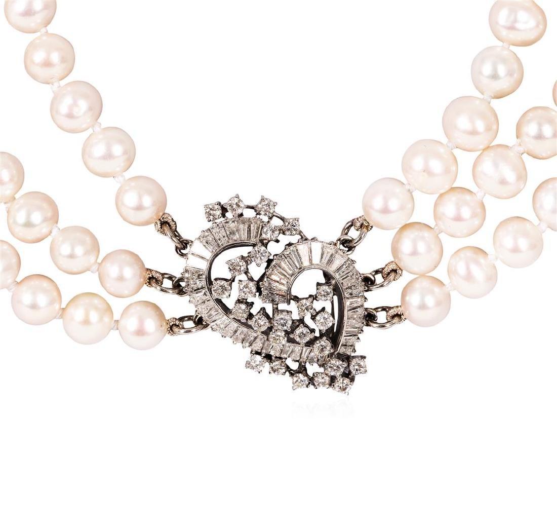 2.90 ctw Pearl and Diamond Necklace - Platinum - 4