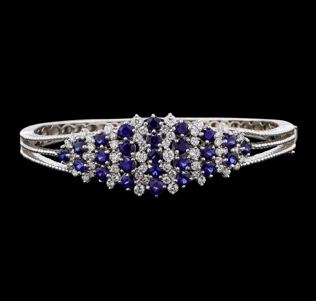 5.44 ctw Sapphire and Diamond Bangle Bracelet - 14KT