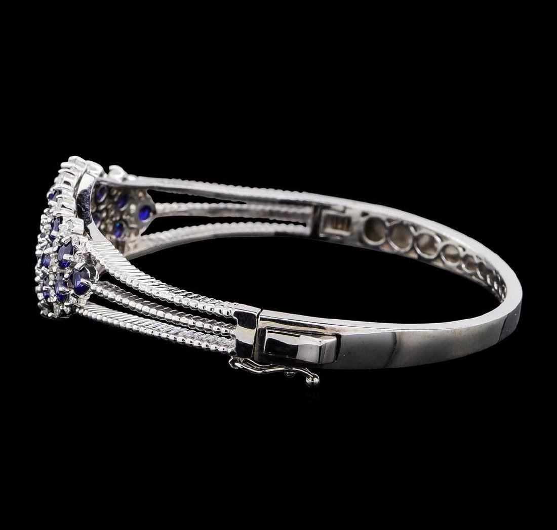 5.44 ctw Sapphire and Diamond Bangle Bracelet - 14KT - 2