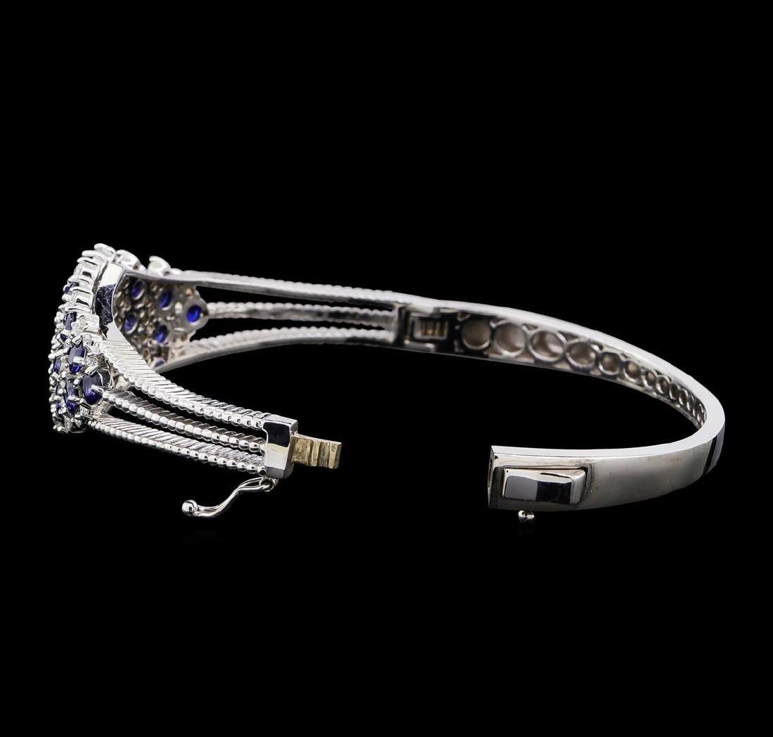 5.44 ctw Sapphire and Diamond Bangle Bracelet - 14KT - 3