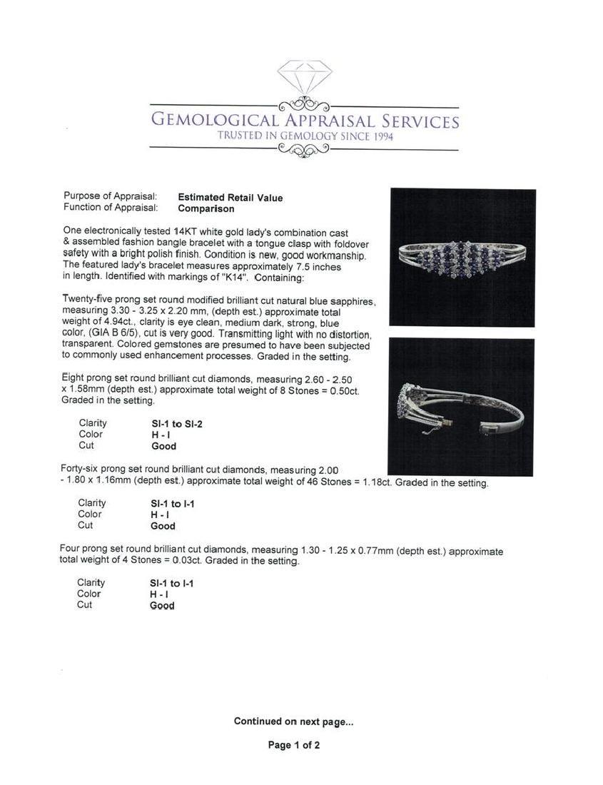 5.44 ctw Sapphire and Diamond Bangle Bracelet - 14KT - 4
