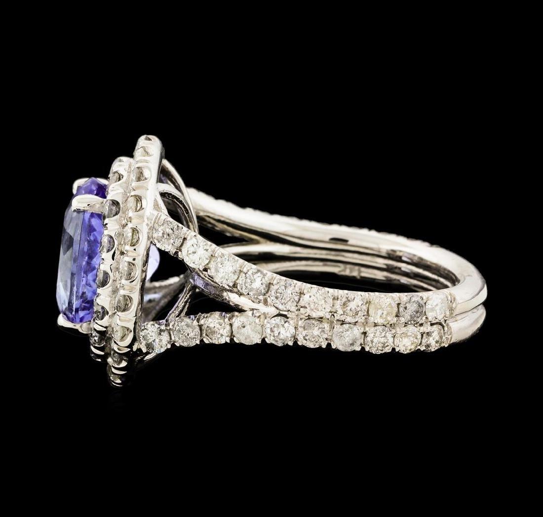 4.44 ctw Tanzanite and Diamond Ring - 14KT White Gold - 3
