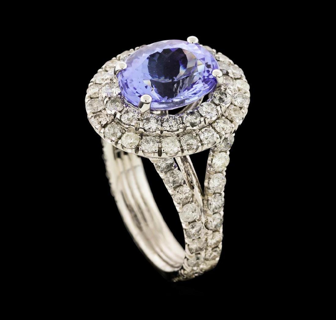 4.44 ctw Tanzanite and Diamond Ring - 14KT White Gold - 4