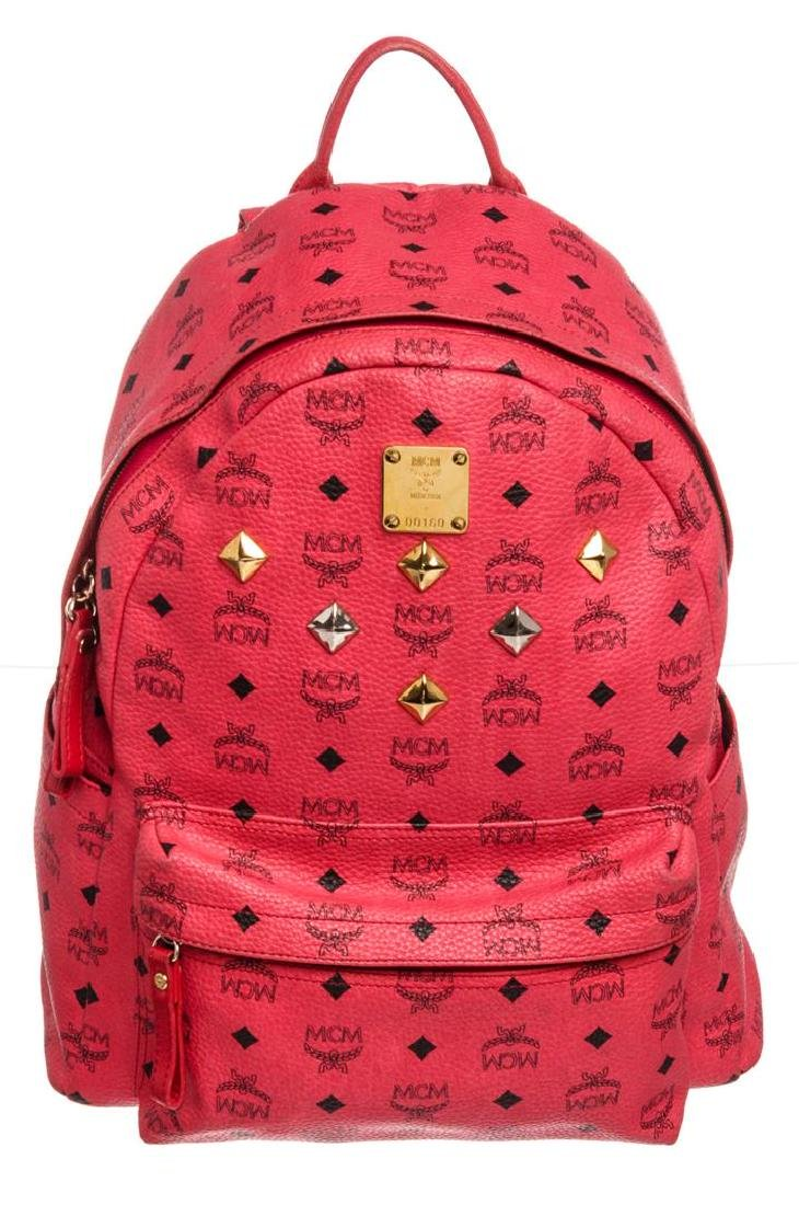 MCM Red Visetos Coated Canvas Leather Trim Studded