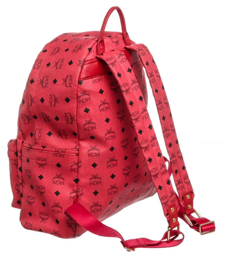 MCM Red Visetos Coated Canvas Leather Trim Studded - 2