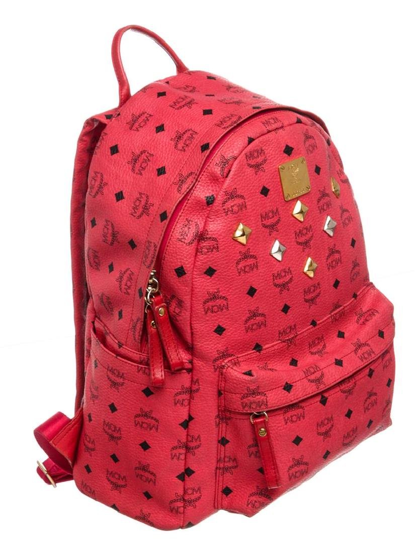 MCM Red Visetos Coated Canvas Leather Trim Studded - 3