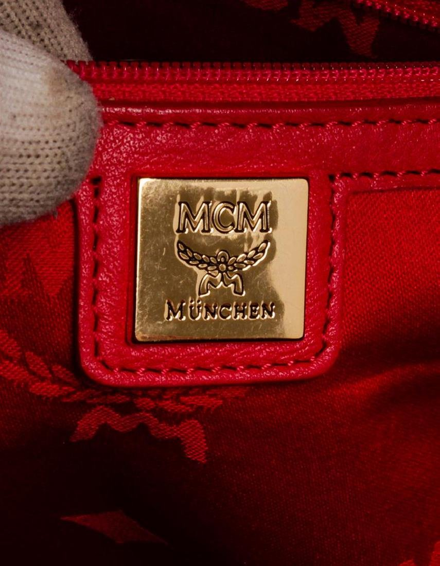 MCM Red Visetos Coated Canvas Leather Trim Studded - 5