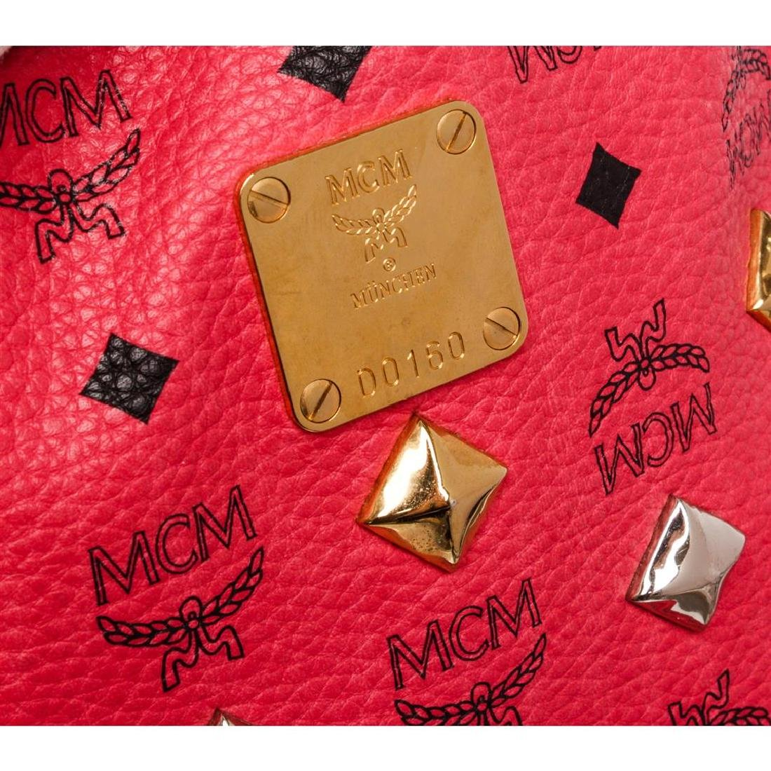 MCM Red Visetos Coated Canvas Leather Trim Studded - 8