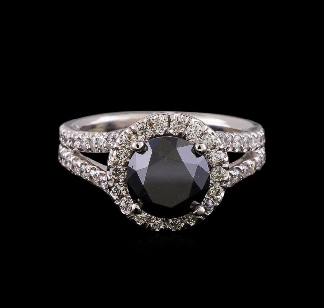 3.58 ctw Black Diamond Ring - 14KT White Gold - 2