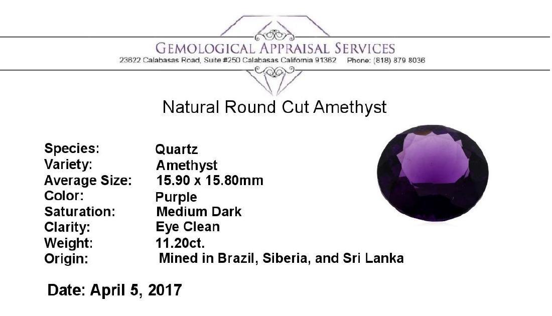 11.20 ct. Natural Round Cut Amethyst - 3