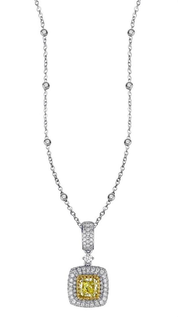18k Two Tone Gold 1.38CTW Diamond Pendant,