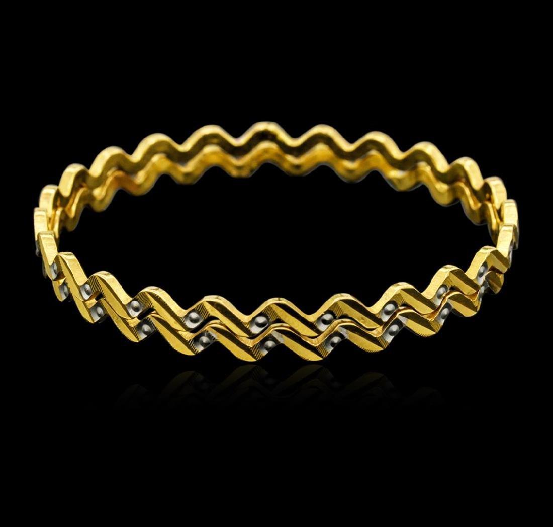 22KT Two-Tone Gold Fancy Bangle Bracelets - 2