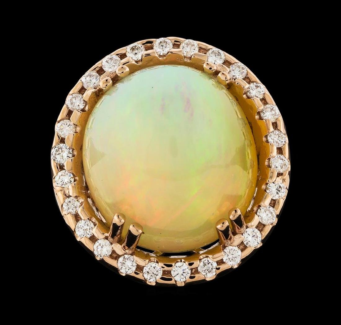 20.70 ctw Opal and Diamond Ring - 14KT Rose Gold - 2