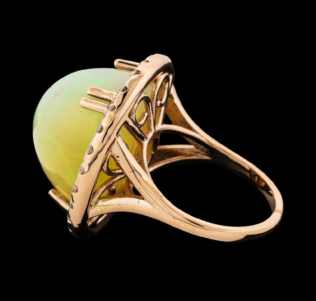 20.70 ctw Opal and Diamond Ring - 14KT Rose Gold - 3