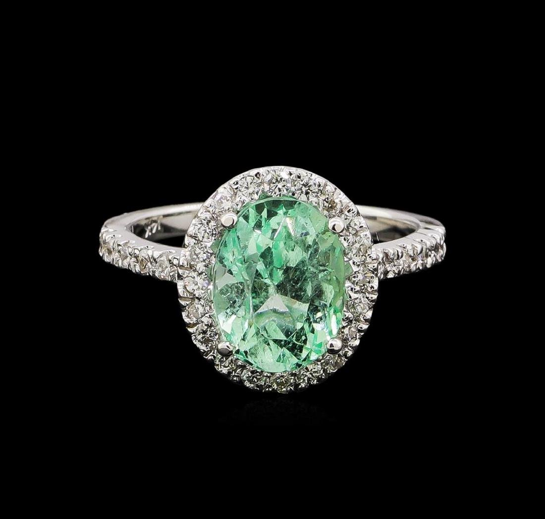 2.75 ctw Emerald and Diamond Ring - 14KT White Gold - 2