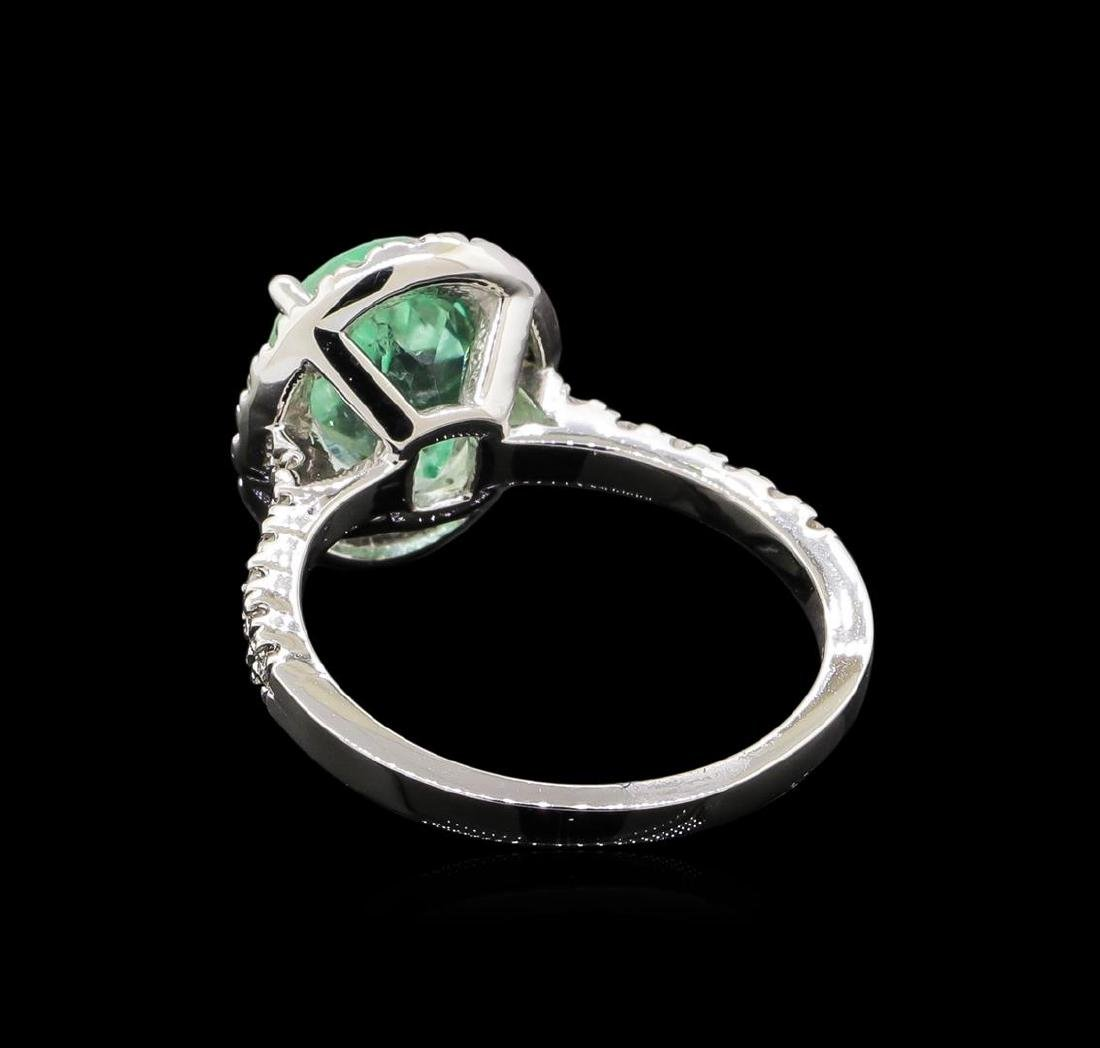 2.75 ctw Emerald and Diamond Ring - 14KT White Gold - 3