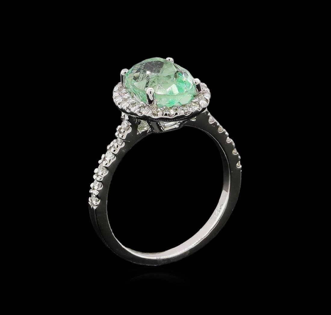 2.75 ctw Emerald and Diamond Ring - 14KT White Gold - 4
