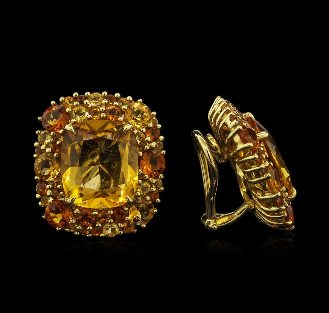 24.64 ctw Citrine Earrings - 18KT Yellow Gold - 2