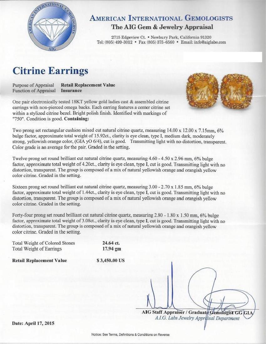 24.64 ctw Citrine Earrings - 18KT Yellow Gold - 3