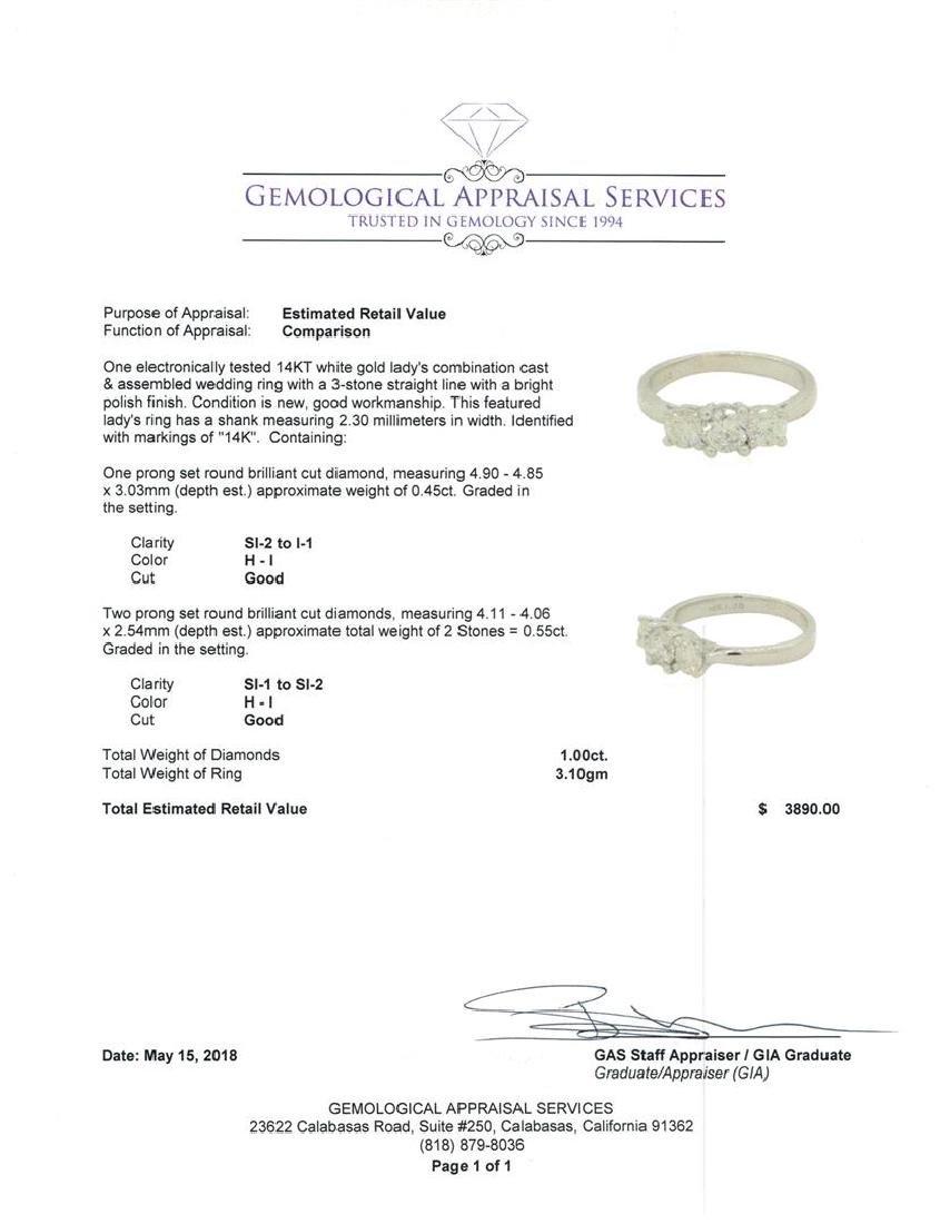 0.45 ctw Diamond Ring - 14KT White Gold - 5