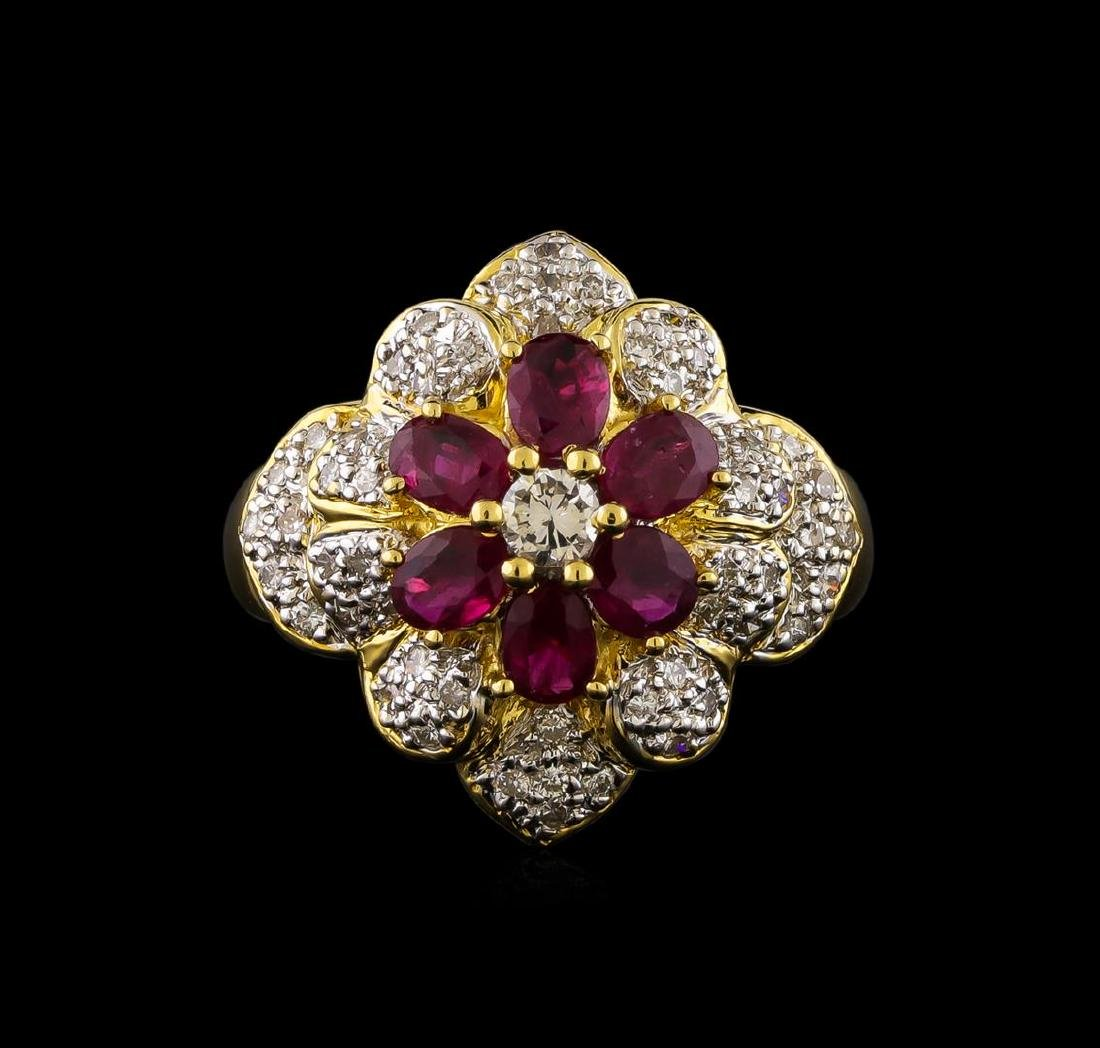 1.35 ctw Ruby and Diamond Ring - 18KT Yellow Gold - 2