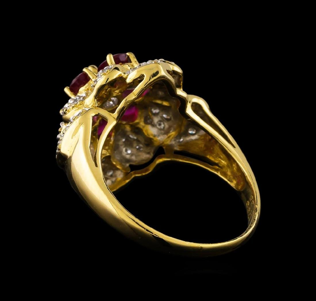 1.35 ctw Ruby and Diamond Ring - 18KT Yellow Gold - 3