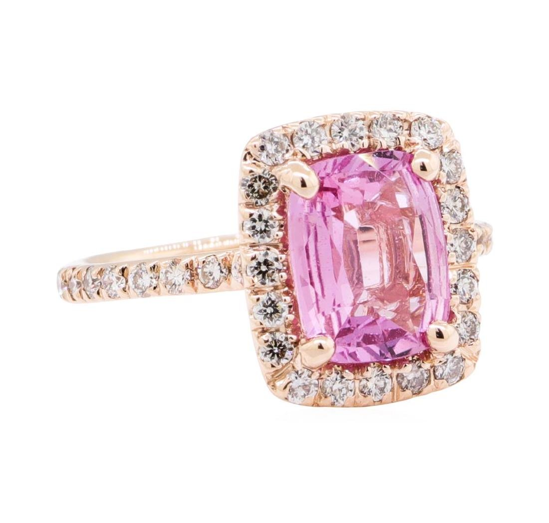 2.43 ctw Pink Sapphire And Diamond Ring - 14KT Rose