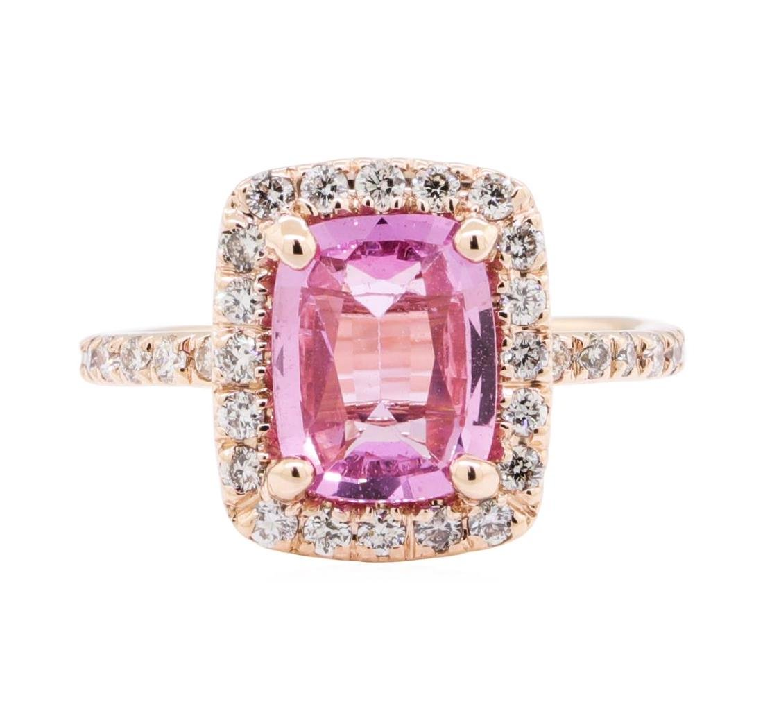 2.43 ctw Pink Sapphire And Diamond Ring - 14KT Rose - 2