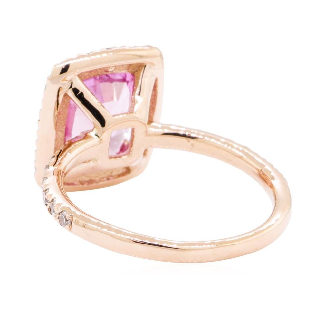 2.43 ctw Pink Sapphire And Diamond Ring - 14KT Rose - 3