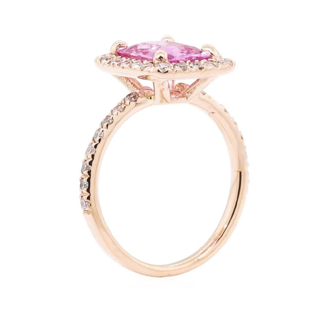 2.43 ctw Pink Sapphire And Diamond Ring - 14KT Rose - 4