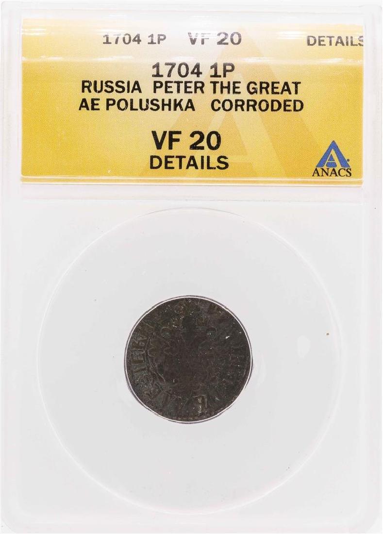 1704 Russia Peter the Great AE Polushka Coin ANACS VF20