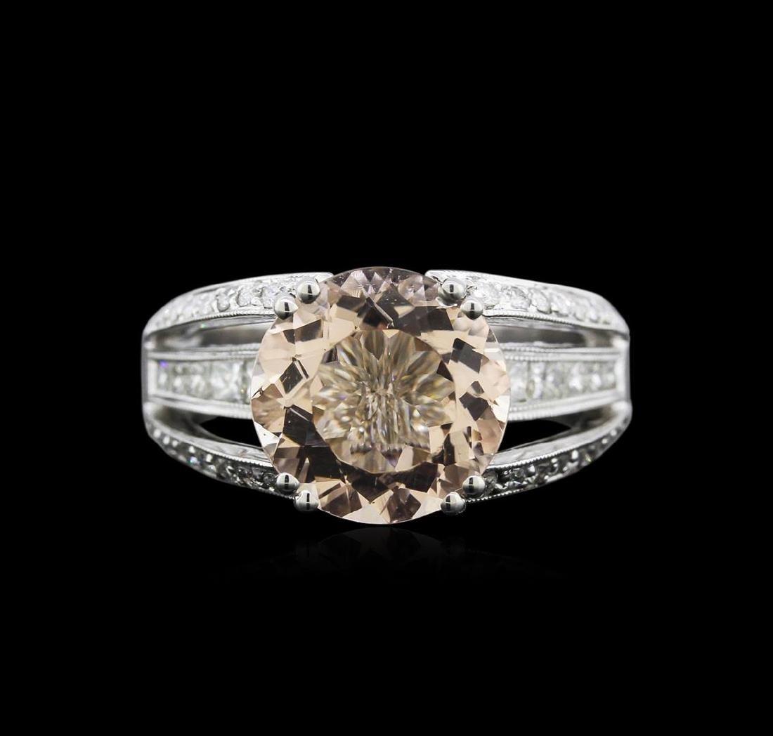 3.54 ctw Morganite and Diamond Ring - 18KT White Gold - 2