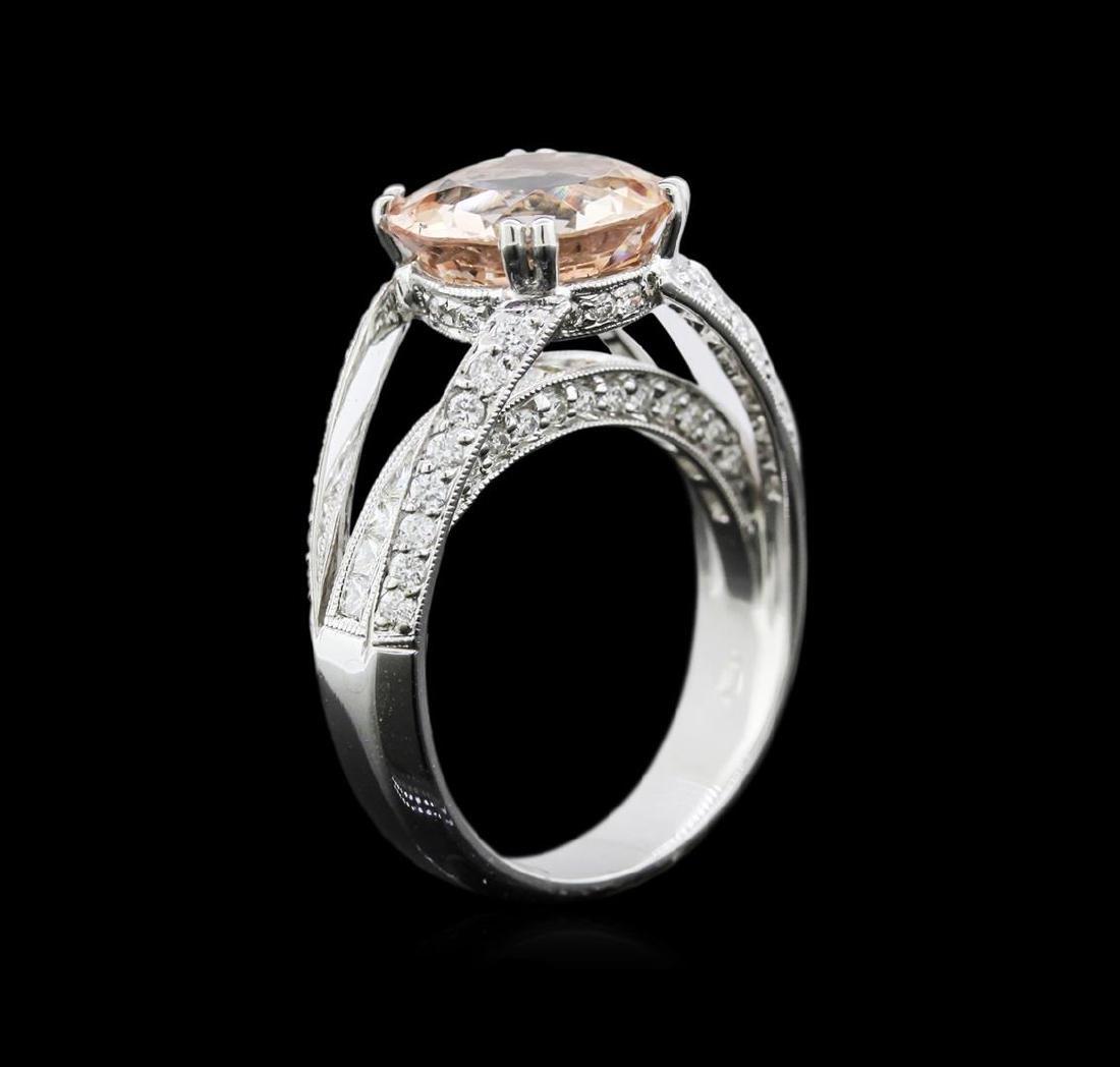 3.54 ctw Morganite and Diamond Ring - 18KT White Gold - 3